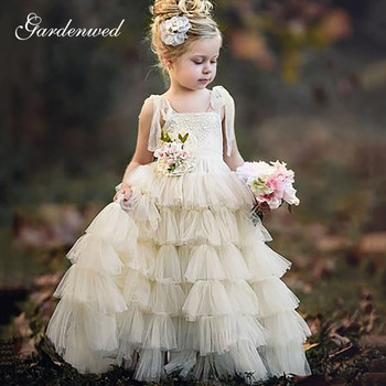 Cute Boat Neck Flower Girl Dresses Tiered Tulle Skirt Long Communion Dress Backless Spaghetti Straps Wedding Party