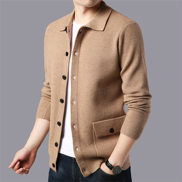 US $26.34 39% OFF|Autumn Winter Mens Sweaters Vintage Long Sleeve Knitted Cardigans Men Casual Knitwear Khaki Oversized Sweater Knitted Top