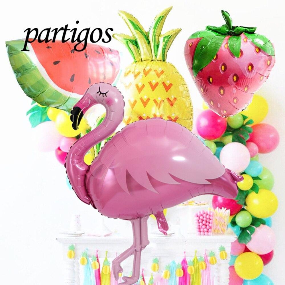 Воздушные шары большого размера в виде фламинго, ананаса, соломки, арбуза, темативечерние праздник на день рождения, лето, фрукты, гелиевые ш...
