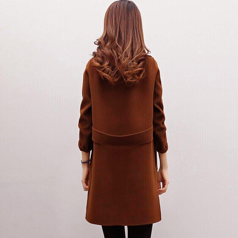 2019 Winter Coat Women Plus Size Korean Fashion Belt Womens Coats Slim Artificial Wool Outerwear Warm Winter Jacket For Female 6
