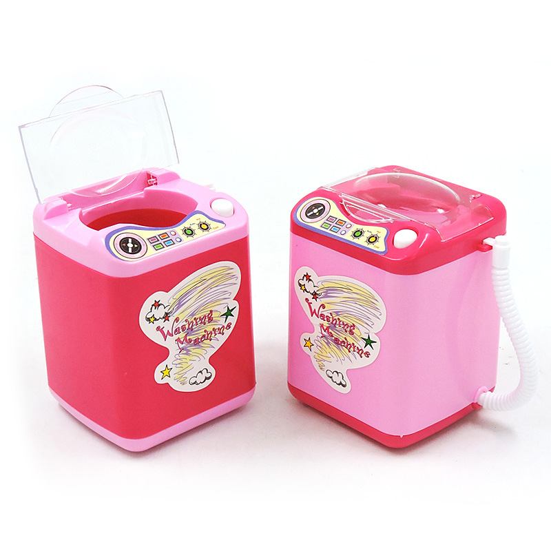 Mini Electric Washing Machine Pretend Role Play Toy Wash Makeup Brushes New