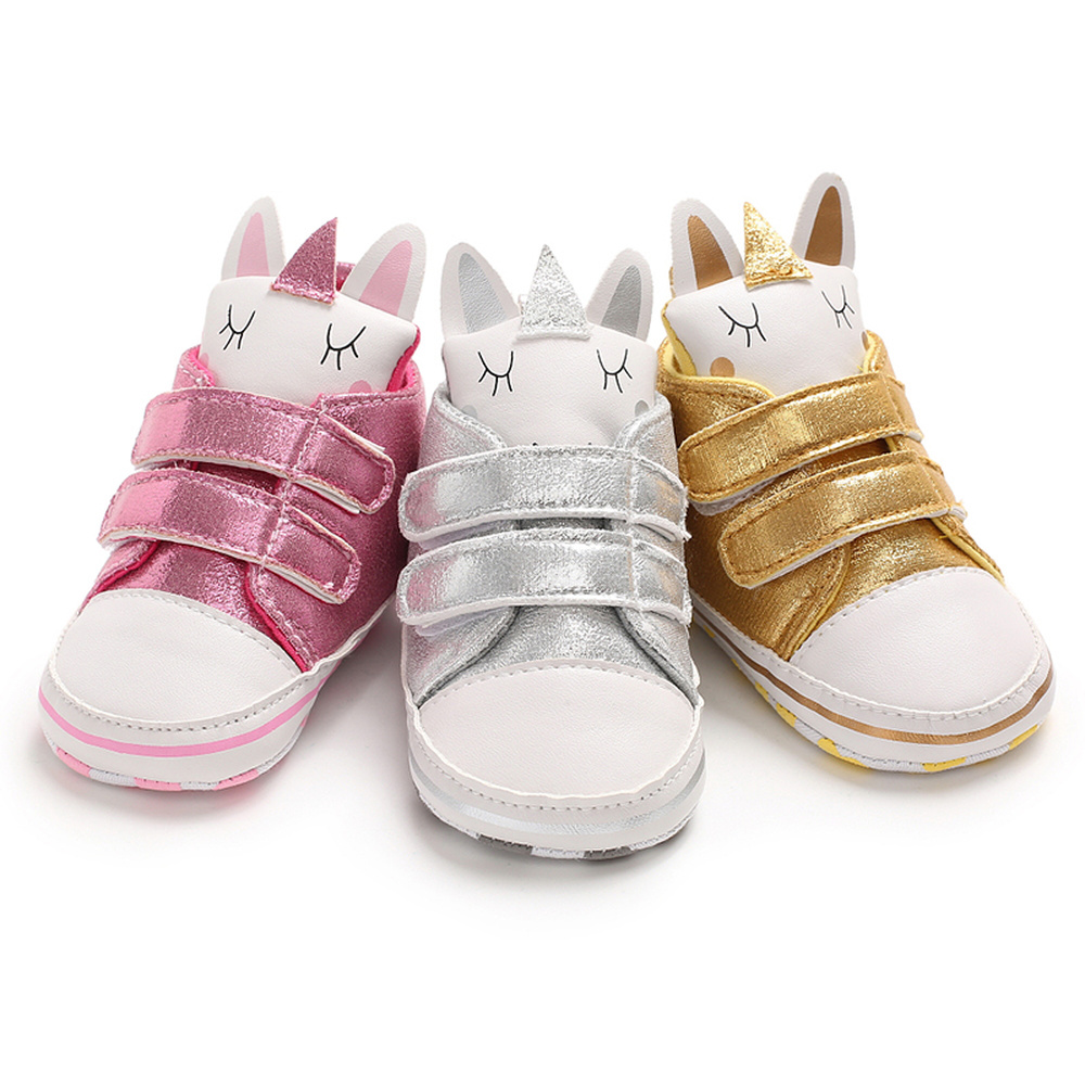 Newborn Infant PU Bling Baby Girls Shoes Unicorn Head Toddler Soft Cotton Anti-Slip Sole Canvas Sneaker Girl Party Crib Shoes