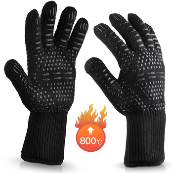 BBQ Glove High Temperature Resistance Oven Mitts 500 800 Degrees Fireproof Barbecue Heat Insulation Microwave Kitchen Oven Glove alex clark rooster double oven glove
