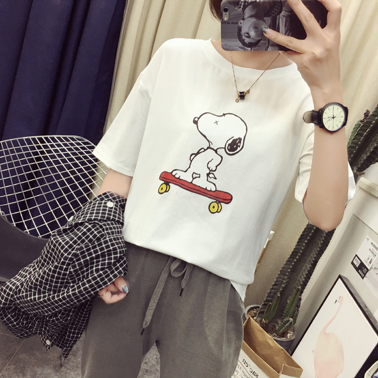 2019 Korean-style Cartoon Snoopy Printed T-shirt Women's Loose And Plus-sized Summer New Style Short Sleeve