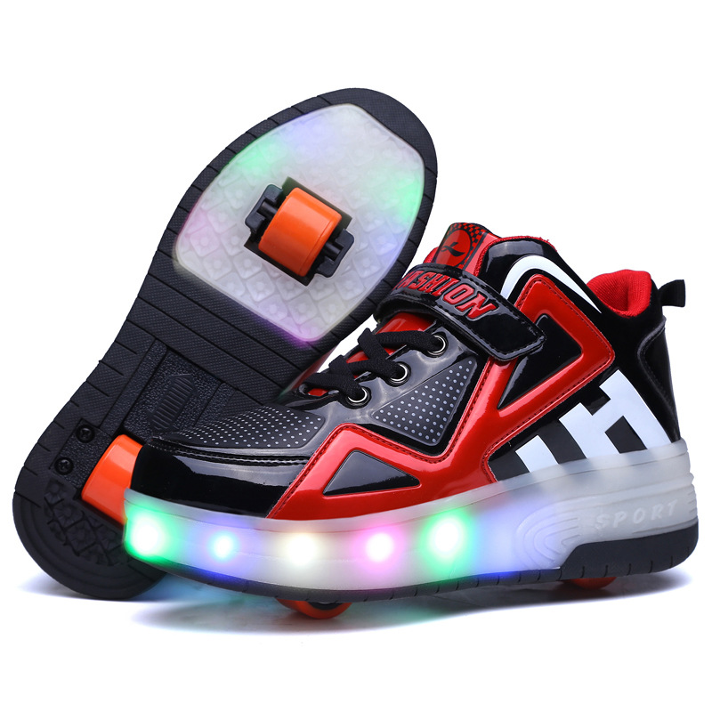 New <font><b>Children</b></font> <font><b>Shoes</b></font> Kids Glowing Sneakers <font><b>with</b></font> Two Wheels Kids Roller Skate <font><b>Shoes</b></font> Led <font><b>Light</b></font> Up <font><b>Shoes</b></font> for Boys Girls image