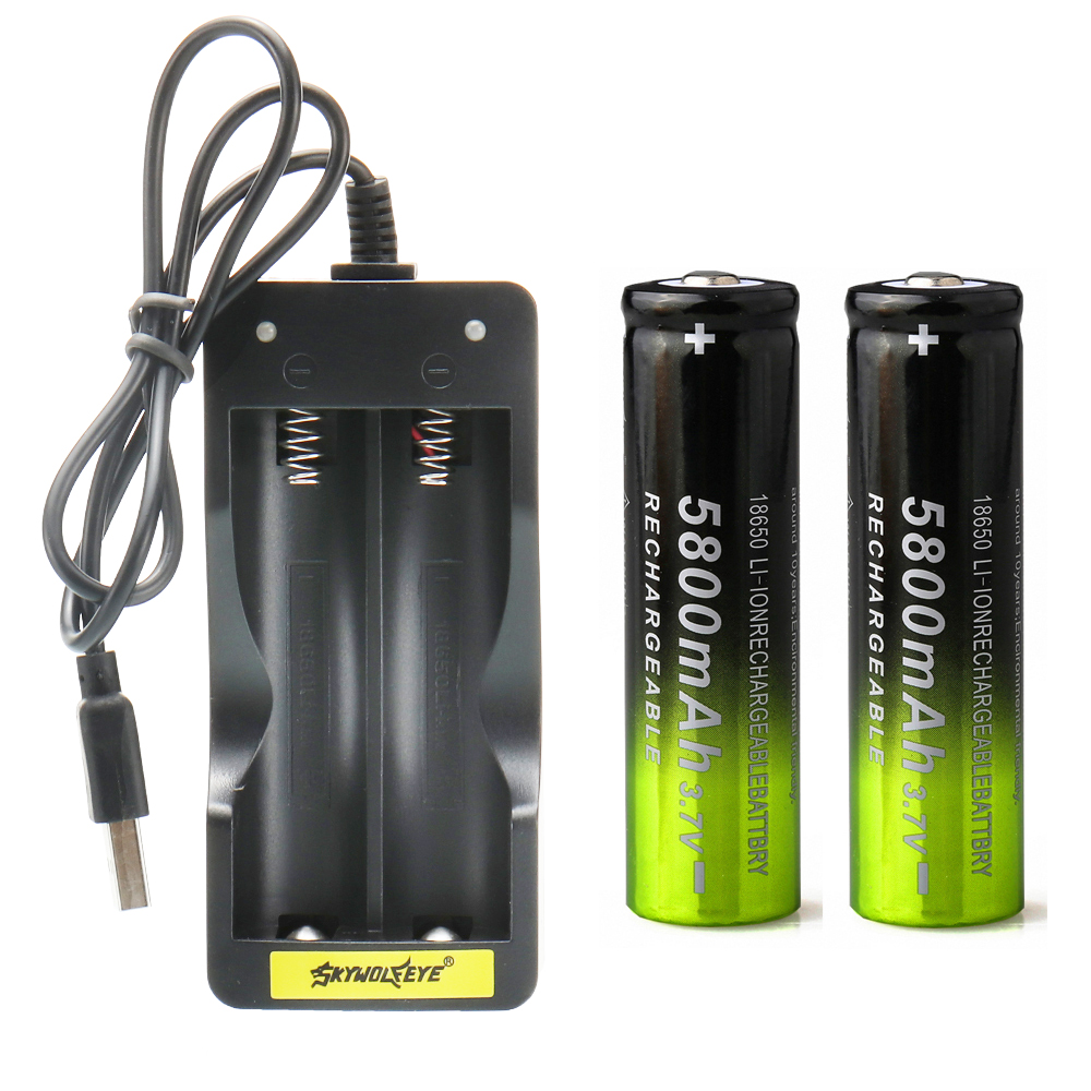 USB Smart Battery Charger Fast Charge Rechargeable Li-on Battery Automatic Stop +2x 5000mah/ 5800mah  18650 Battery