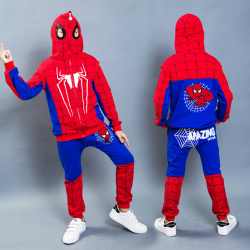 3Pcs Kids Baby Boys Spiderman Hooded Vest T-shirt Tops Pants Outfit Cosplay Set