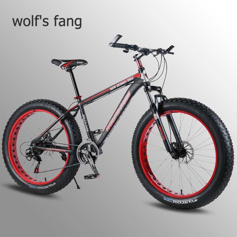 Wolf's fang Bicycle Fat <font><b>Bike</b></font> Aluminum alloy Folding mountain <font><b>bike</b></font> 7/21 Speed Snow Bicycles Fat Tire Snow <font><b>Bikes</b></font> 26 inch road <font><b>bike</b></font> image