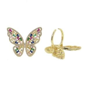 Image 5 - פרפר קוקטייל טבעת עבור נשים יוקרה זהב ורוד קשת cz סלול פתוח מותאם תכשיטים