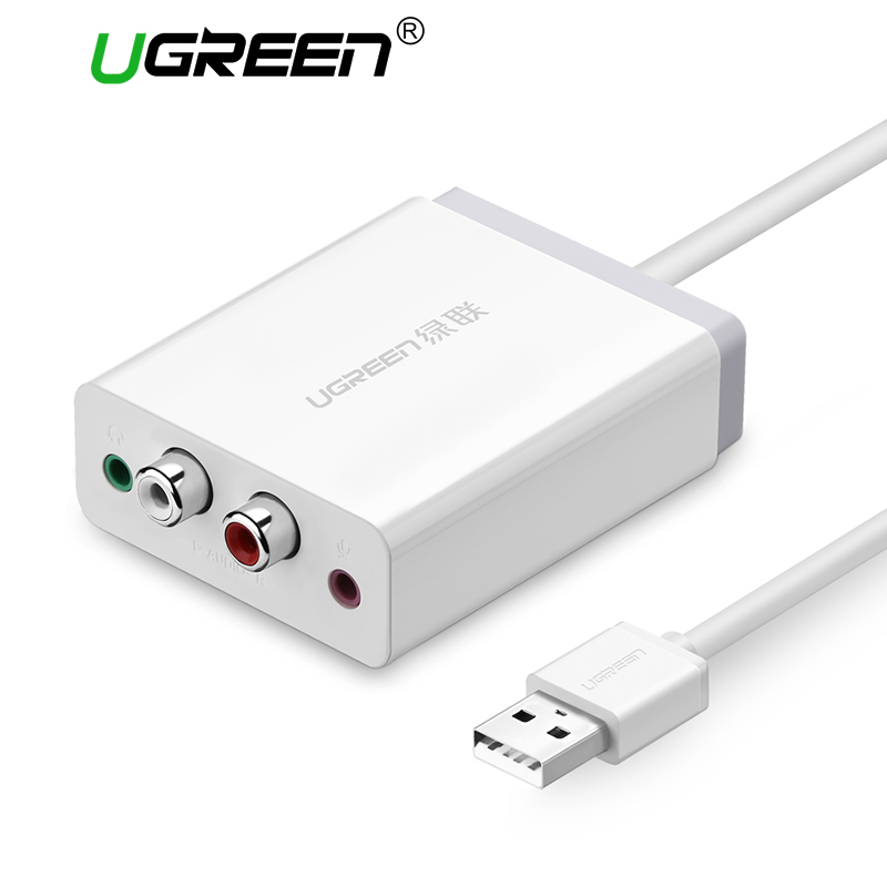 Ugreen External Stereo USB Sound Adapter with 3.5mm Aux Stereo and 2RCA Cable Converter for Headphone Microphone Free Drive 90 corner clamp shopify