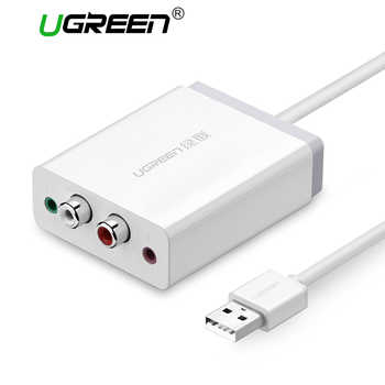 Ugreen 2 RCA USB Sound Card Audio Interface 3.5mm USB Adapter to Speaker Microphone for Laptop Computer External Sound Card - DISCOUNT ITEM  25% OFF All Category