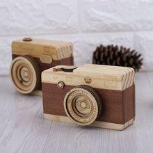 Wooden Music Box Retro Camera Design Classical Melody Birthday Home Decoration
