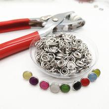 Ree envio novo 100 conjuntos 10mm colorido pérola snap botões para couro, botão snaps fixadores botão combinado