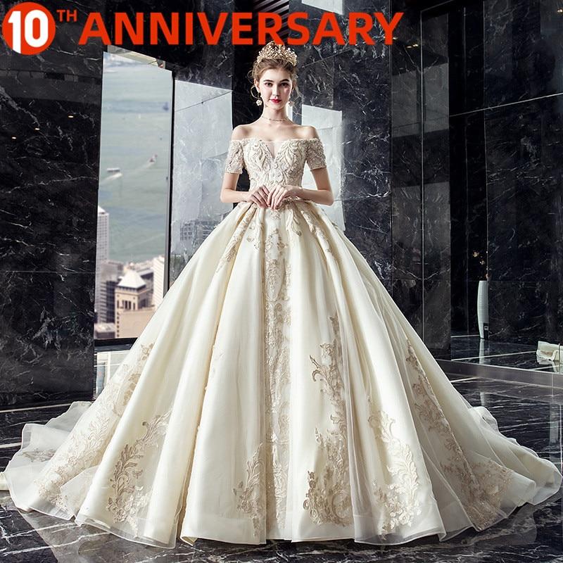 OllyMurs Luxury Wedding Master Daughter Shoulders Hand-embroidered Rose Pattern Design Pregnant Women Fat Wedding Dress
