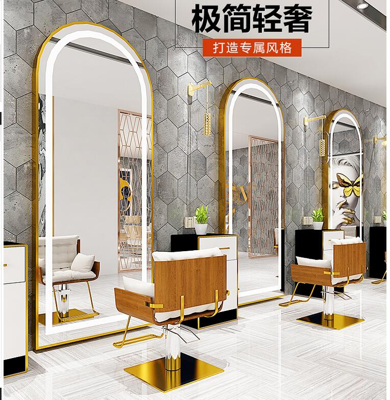 Web Celebrity Beauty Salon Mirror Stage Barbershop Simple Floor-to-ceiling Mirror Hair Salon Wall Hanging Wall European Style Cu