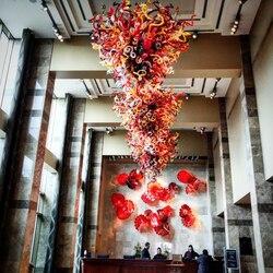 Luksusowa sztuka wysokie wiszące czerwone duże szkło Murano żyrandole do holu hotelowego