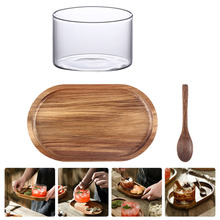 1 Set Acacia Wood Plate Spoon Glass Cup Set Snack Coffee Wood Tray Spoon Cup Kit