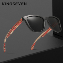 Genuine KINGSEVEN New Fashion Trend Design Women Sunglasses Men Gradient Multi Color Natural Wood Mirror Lens Sun Glasses Oculos