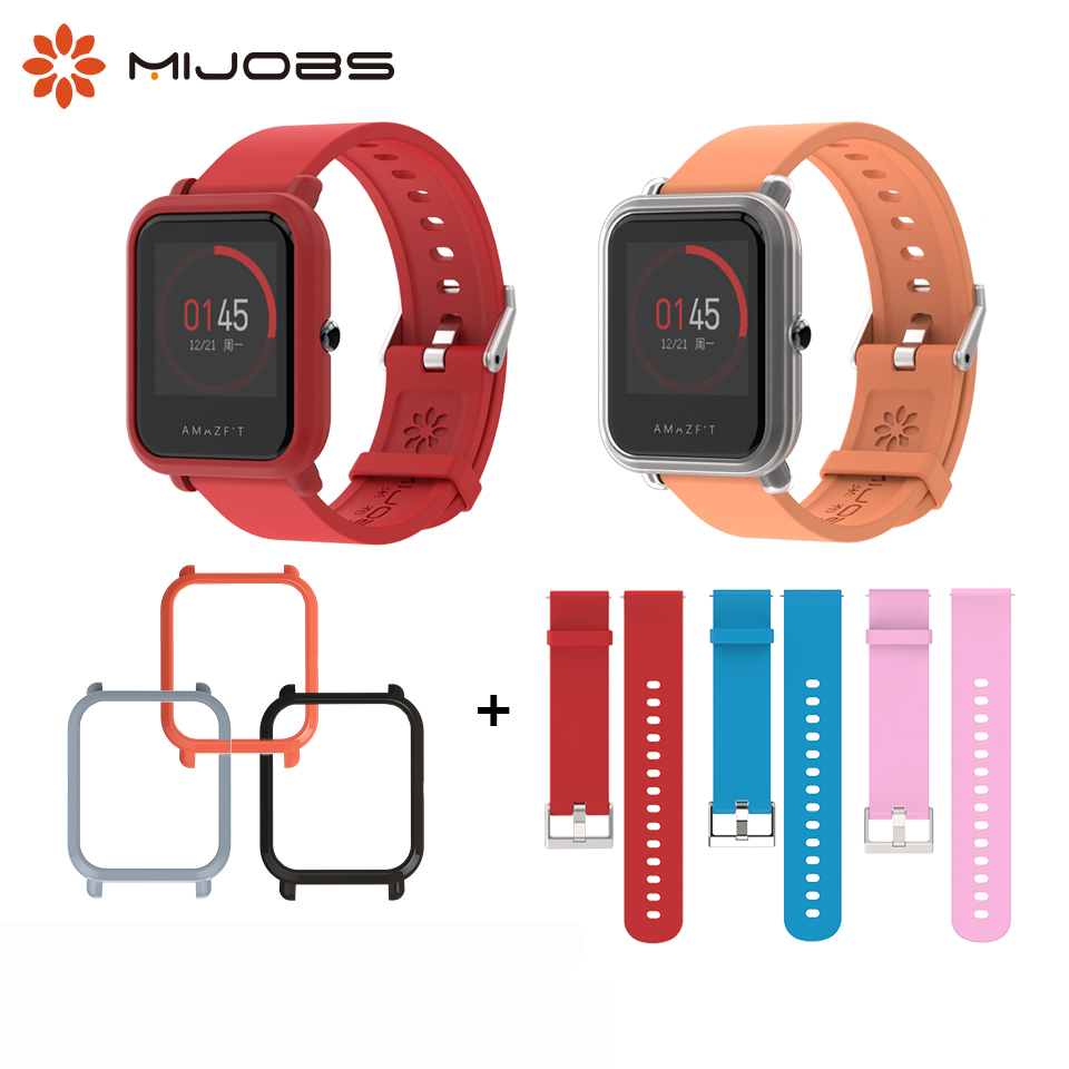 20mm Silicone Wrist Strap Sports Wristband Bracelet Case Cover For Xiaomi Huami Amazfit Bip BIT Smart Watches Accessories