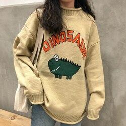 Женский свитер с забавными буквами и динозавром в стиле Харадзюку, винтажный Зимний пуловер с круглым вырезом и длинным рукавом, Свободный ...