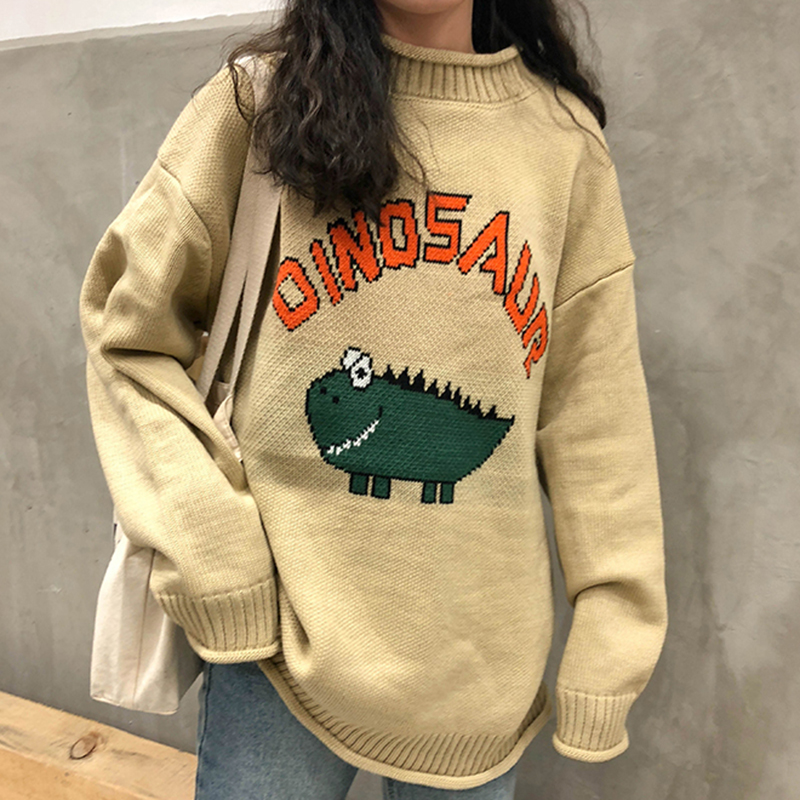 Funny Letter Dinosaur Sweater Women Harajuku Vintage O-neck Winter Pullover Long Sleeve Loose Knitted Oversize Sweater Warm V698