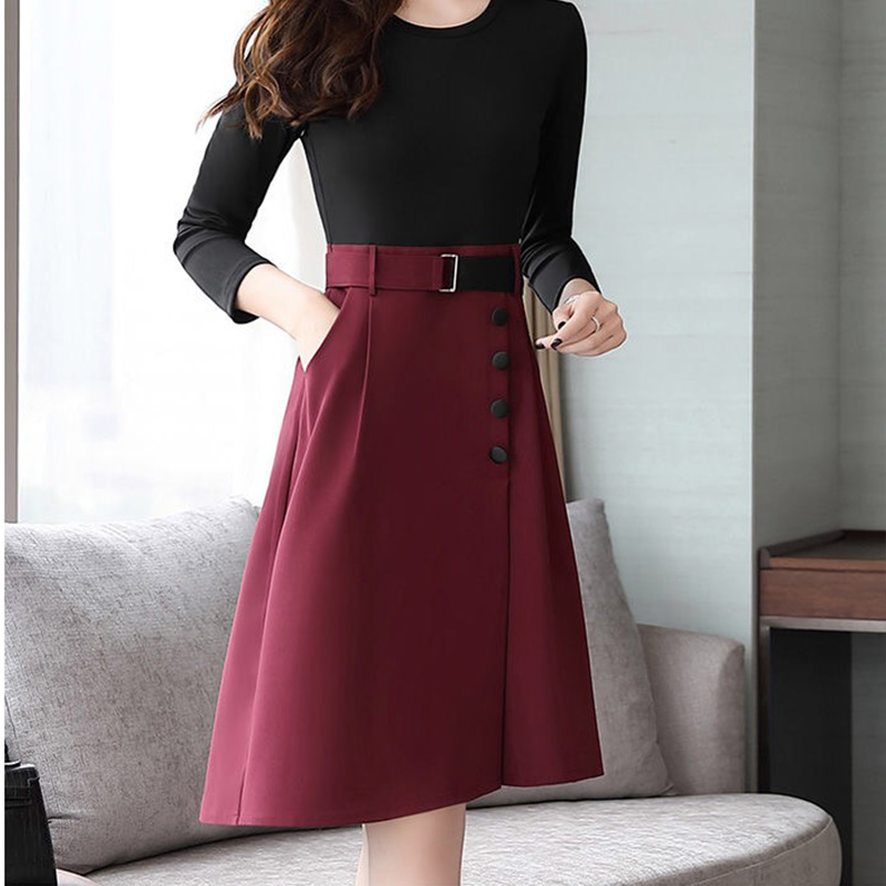 fall femme 2019 korean dress women plus size work dresses long sleeve patchwork midi maxi office dress <font><b>xxl</b></font> with buttons <font><b>belt</b></font> image