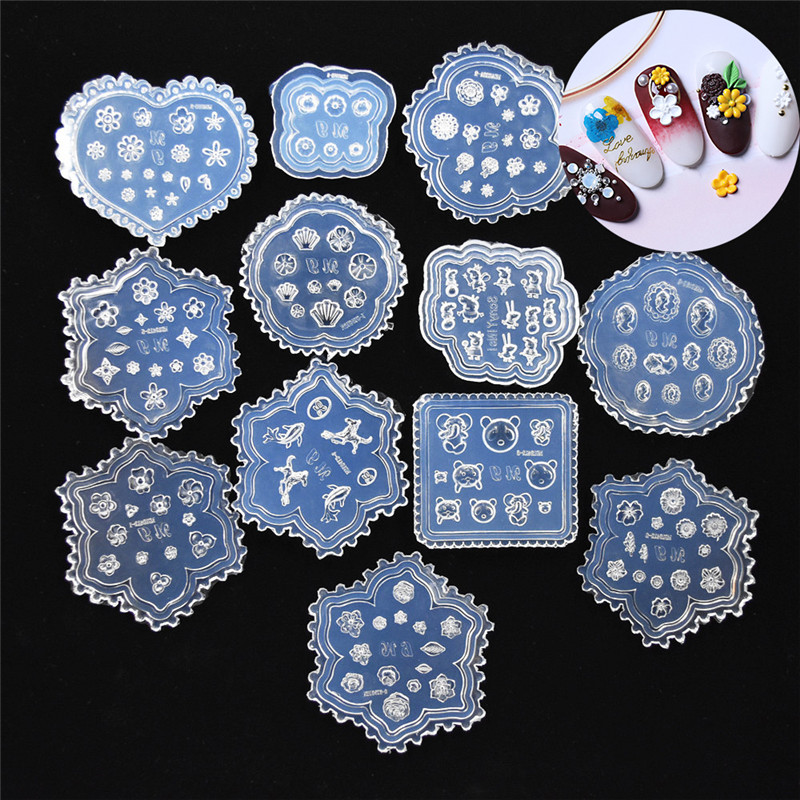 Silicone Mold Tiny Beads Flower Pig Bear Leaf Shell Dolphin Beauty Nail Art Resin Silicone Mould Tool UV Epoxy Resin Silicone