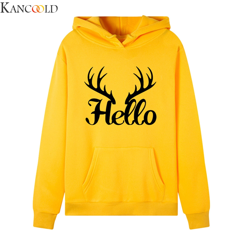 KANCOOLD Women Long Sleeve Letter Print Hooded Sweatshirt Autumn&Winter Blouse Lady Tops Hoodie Sweatshirt Fashion Tops
