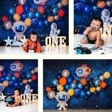 ケーキスマッシュ写真の背景スペースをテーマにした宇宙飛行士1st誕生日パーティーの装飾子供少年写真スタジオ写真の背景
