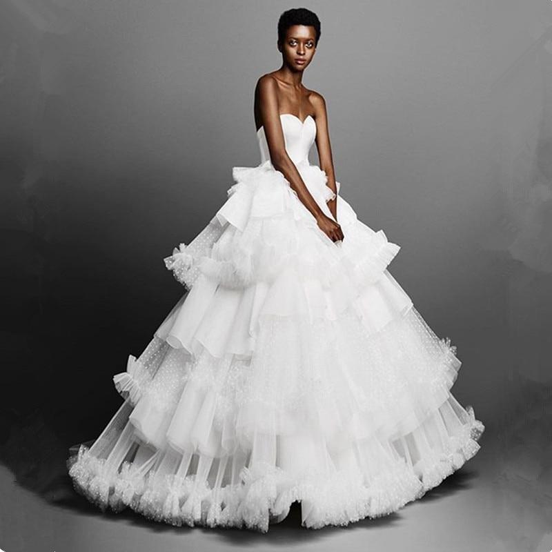 Romantic Tiered Ball Gown Wedding Dresses Robe De Mariee Sexy Backless Polka Dot Train Bride Dress Vestido De Noiva