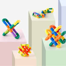 Toys Building-Blocks Plastic DIY Plug Tunnel-Assembly Puzzle Gifts Construction Pipeline-Color