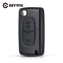 KEYYOU для Peugeot 306 407 807 Partner VA2 Blade CE0523, 2 кнопки, откидная крышка для ключа, чехол для пульта дистанционного управления