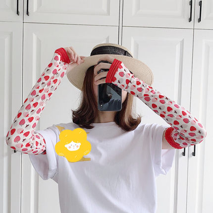 2 Pieces = 1 Pairs Strawberry Summer Sun-resistant Women's Hand Cuff Arm Warmer Ice Sleeve Viscose Gloves Driving Cute