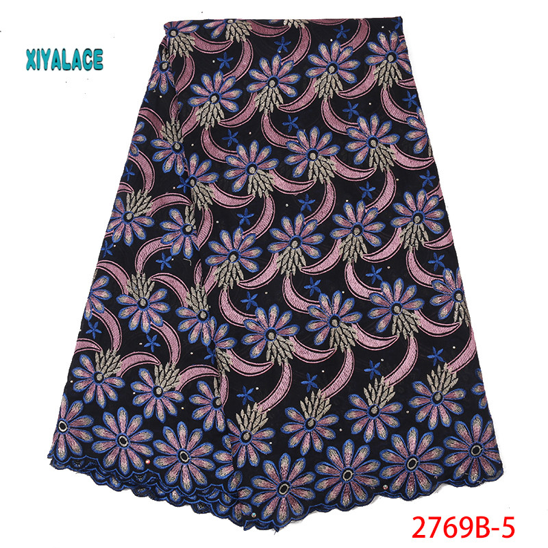 Nigerian French Fabric 2019 Best Selling Swiss Voile Laces African Fabric High Quality Nigeria Tulle Cord Lace Fabric YA2769B-5
