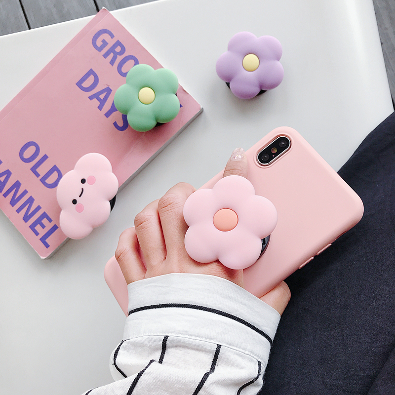 Cute Flower Folding Stand For Mobile Phone Holder For IPhone X 8 7 Plus For Samsung For Huawei Phone Case Animal Grip Kichstand