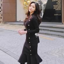 Vestidos largos negros de talla grande para mujer, ropa elegante de manga larga con vestidos de punto, Otoño, DC783, 2021