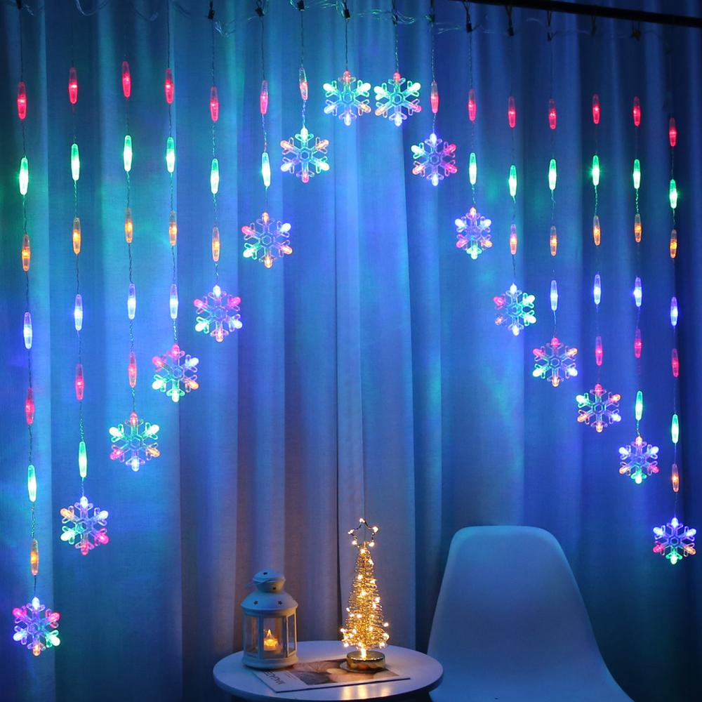 Colorful Snowflake Door Curtain LED Fairy String Lights Garland Christmas Decoration Holiday Lighting Wedding Party Decorative