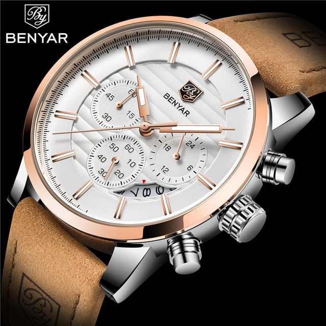 2018 benyar top marca nova moda casual masculino relógio de quartzo luxo militar pulseira de couro cronógrafo relógio masculino relogio masculino