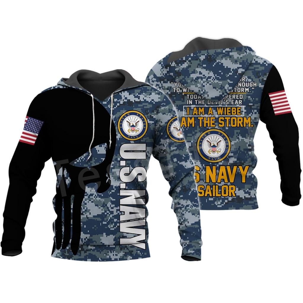 Tessffel America Marine Camo Skull Pullover Soldier Army NewFashion Harajuku 3DPrint Zip/Hoodie/Sweatshirt/Jacket/Men/Women B-15
