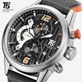 T5 Dos Homens Pulseira de couro Preto Quartz Chronograph Esporte Homem Relógio Mens Relógios Top Marca de Luxo relógio de Pulso À Prova D' Água