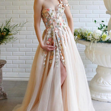 Prom-Dress Champagne Evening-Dresses Flowers Long Sweetheart-Neck One-Shoulder Party
