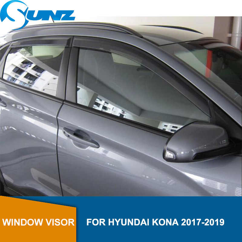 Side Window Deflectors For Hyundai Kona / Encino Kauai 2017 2018 2019 Black Car Wind Shields Sun Rain Visors SUNZ