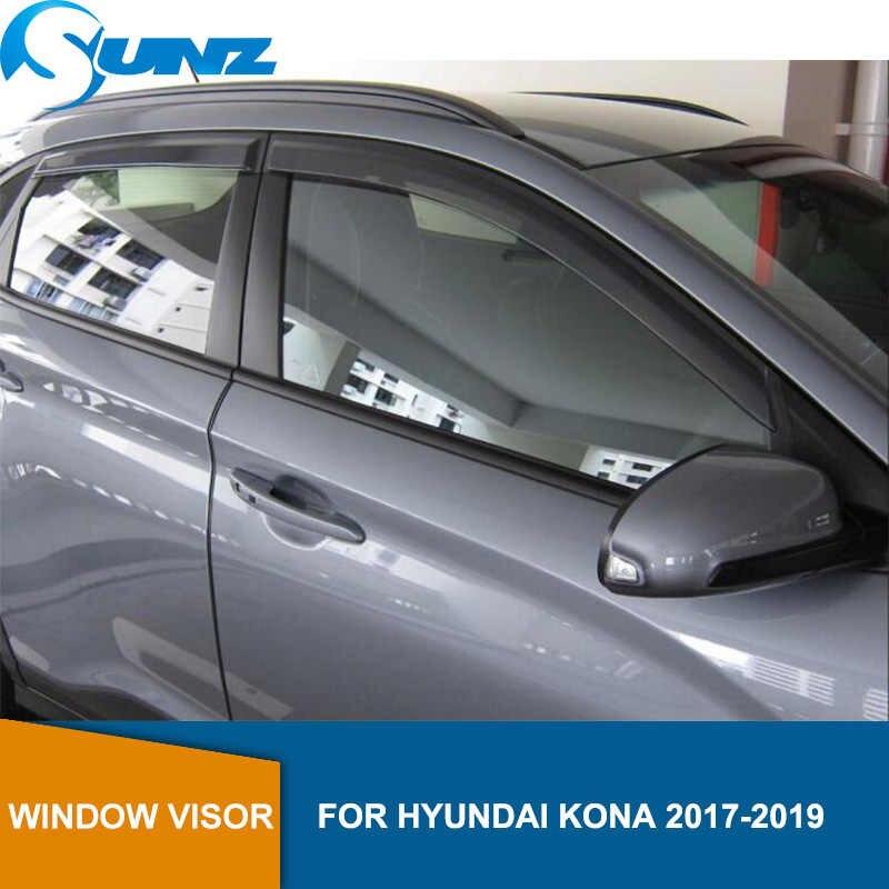 Side Window Deflectors For Hyundai Kona / Encino Kauai 2017 2018 2019 Black Car Wind Shields Sun Rain Visors SUNZ