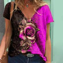 Summer Women T Shirt Rose Printed Short-Sleeve Casual Loose Ladies Pullover V-Neck Female Clothing Streetwear 2021 Fashion