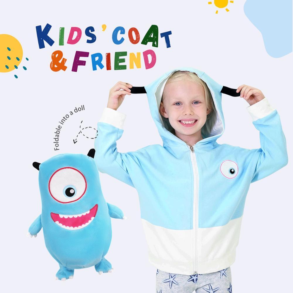 New 2020 Cartoon cute sweatshirt children foldable doll top sweater girl boy hoodie kid dinosaur clothes thin coat Christmas