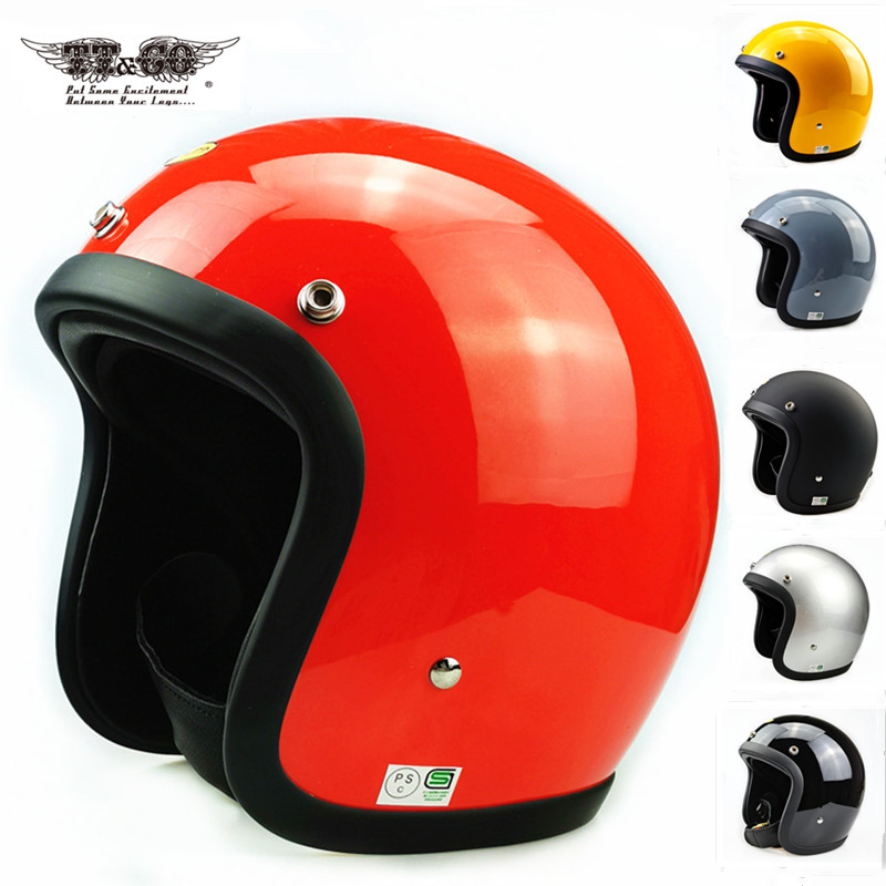 Tt & co japonês cafe racer capacete da motocicleta do vintage casco moto retro capacete de fibra de vidro de pouco peso aberto rosto capacete
