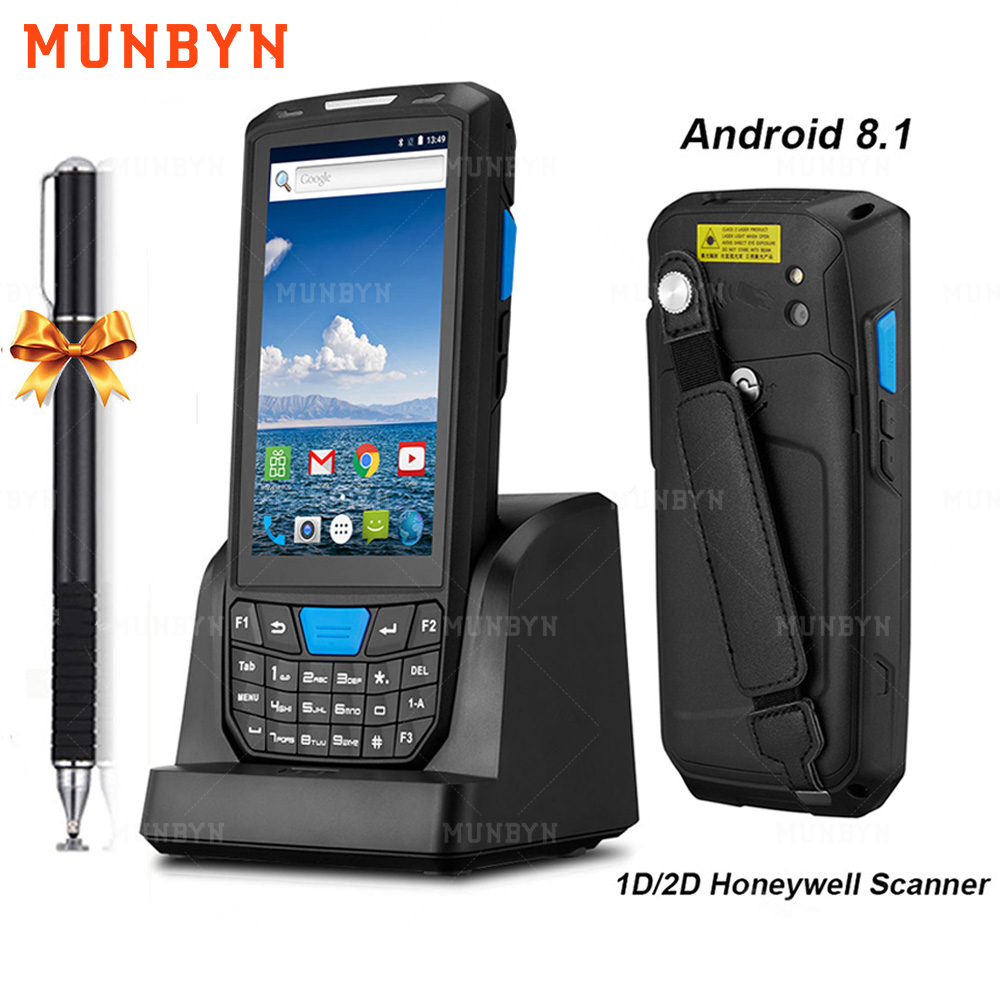 MUNBYN Handheld PDA Android 8.1 Rugged POS Terminal 1D 2D Barcode Scanner WiFi 4G Bluetooth GPS PDA Barcode Reader Data Capture