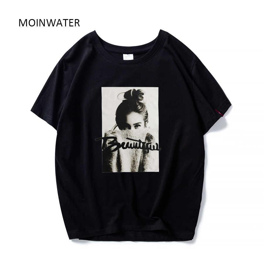 MOINWATER 2020 Frauen Neue Mode T shirts Weibliche Baumwolle Weiß Schwarz Tees & Tops Dame High Street Casual T-shirt MT1943