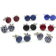 Classic Fashion Dots Polyester Check Design Cufflink 25 Styles For Mens Brand Cuff Buttons Cuff Links High Quality Jewelry