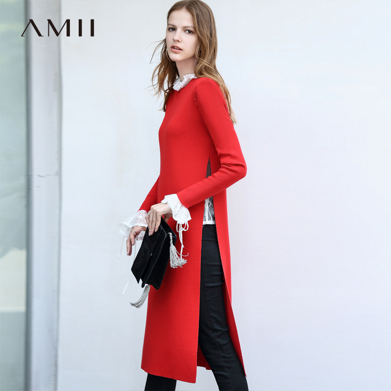 Amii Minimalist Knitted Dress Autumn Women Loose Lace Round Neck Female Retro Dresses 11830106